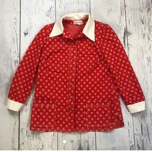 Vintage 70's polka dot blazer jacket women's 18